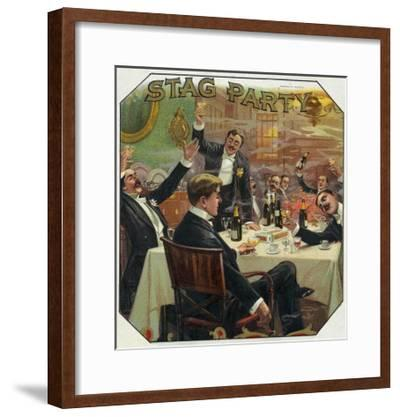 Stag Party Brand Cigar Outer Box Label-Lantern Press-Framed Art Print