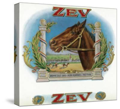Zev Brand Cigar Box Label, Horse Racing-Lantern Press-Stretched Canvas Print