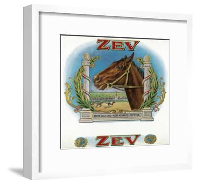 Zev Brand Cigar Box Label, Horse Racing-Lantern Press-Framed Art Print