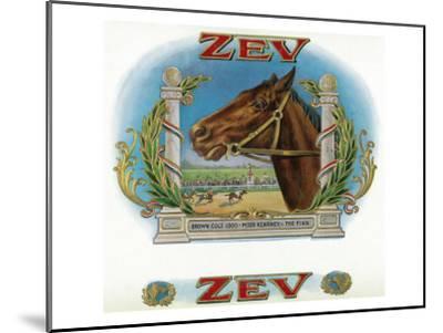 Zev Brand Cigar Box Label, Horse Racing-Lantern Press-Mounted Art Print