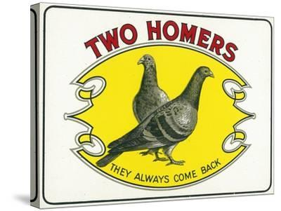 Two Homers Brand Cigar Inner Box Label-Lantern Press-Stretched Canvas Print