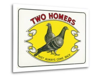 Two Homers Brand Cigar Inner Box Label-Lantern Press-Metal Print