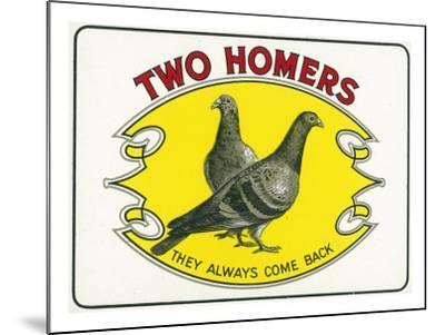 Two Homers Brand Cigar Inner Box Label-Lantern Press-Mounted Art Print