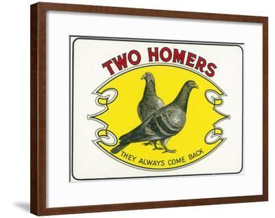 Two Homers Brand Cigar Inner Box Label-Lantern Press-Framed Art Print