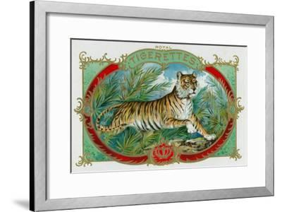 Tigerettes Brand Cigar Box Label-Lantern Press-Framed Art Print