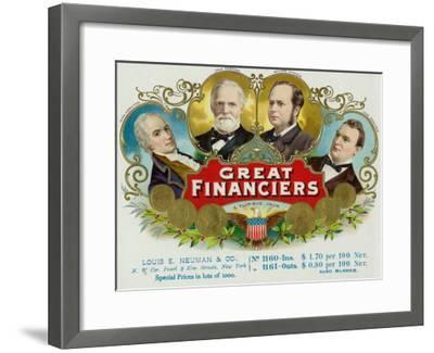 Great Financiers Brand Cigar Box Label-Lantern Press-Framed Art Print