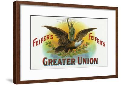 Feifer's Greater Union Brand Cigar Inner Box Label-Lantern Press-Framed Art Print