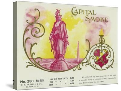Capital Smoke Brand Cigar Box Label-Lantern Press-Stretched Canvas Print