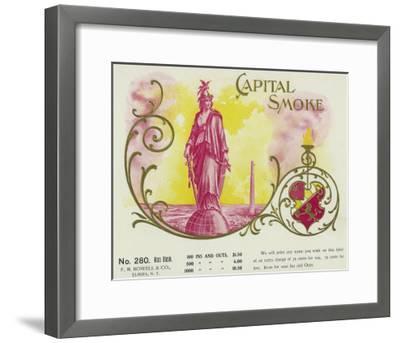 Capital Smoke Brand Cigar Box Label-Lantern Press-Framed Art Print