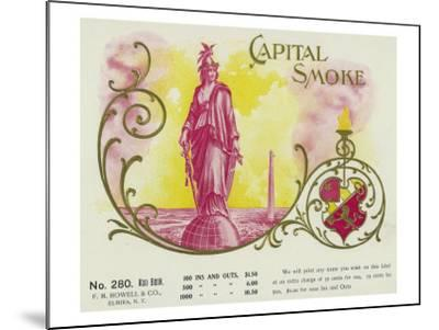 Capital Smoke Brand Cigar Box Label-Lantern Press-Mounted Art Print