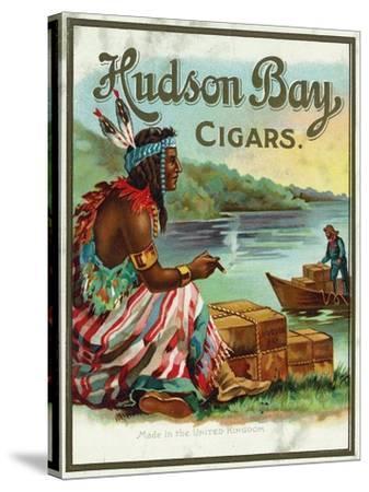 Hudson Bay Brand Cigar Outer Box Label, Native American-Lantern Press-Stretched Canvas Print