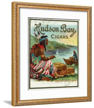 Hudson Bay Brand Cigar Outer Box Label, Native American-Lantern Press-Framed Art Print