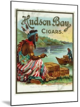 Hudson Bay Brand Cigar Outer Box Label, Native American-Lantern Press-Mounted Art Print