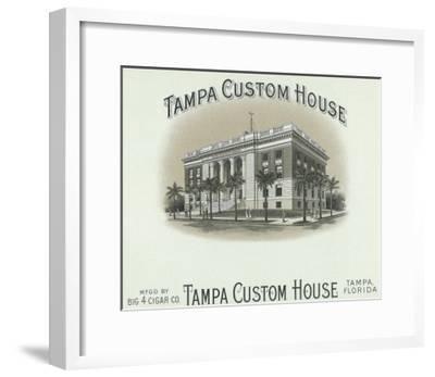 Tampa Custom House Brand Cigar Box Label-Lantern Press-Framed Art Print