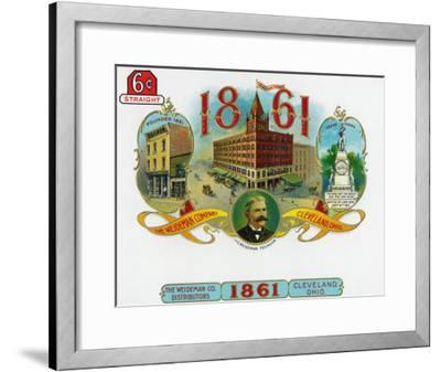 1861 Brand Cigar Box Label, The Weideman Company in Cleveland, Ohio-Lantern Press-Framed Art Print