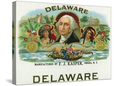 Delaware Brand Cigar Box Label-Lantern Press-Stretched Canvas Print
