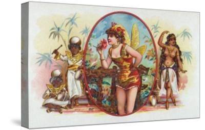 Woman Dressed as a Fairy Smelling a Rose with Islanders Cigar Box Label-Lantern Press-Stretched Canvas Print