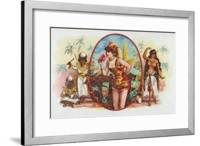Woman Dressed as a Fairy Smelling a Rose with Islanders Cigar Box Label-Lantern Press-Framed Art Print