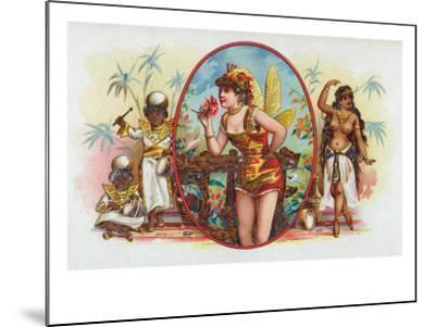 Woman Dressed as a Fairy Smelling a Rose with Islanders Cigar Box Label-Lantern Press-Mounted Art Print