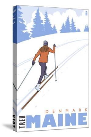 Cross Country Skier, Denmark, Maine-Lantern Press-Stretched Canvas Print