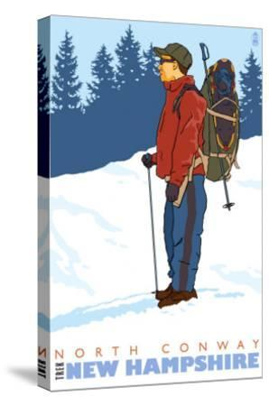 Snow Hiker, North Conway, New Hampshire-Lantern Press-Stretched Canvas Print