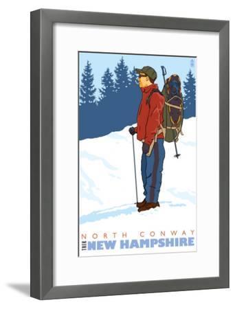 Snow Hiker, North Conway, New Hampshire-Lantern Press-Framed Art Print