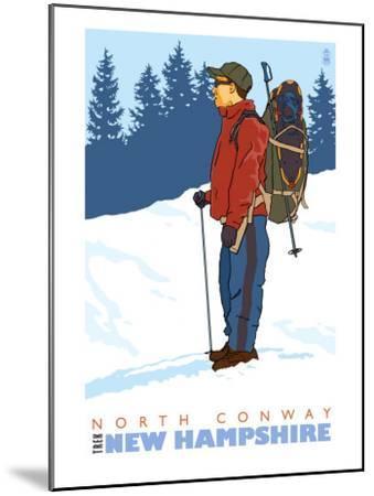 Snow Hiker, North Conway, New Hampshire-Lantern Press-Mounted Art Print