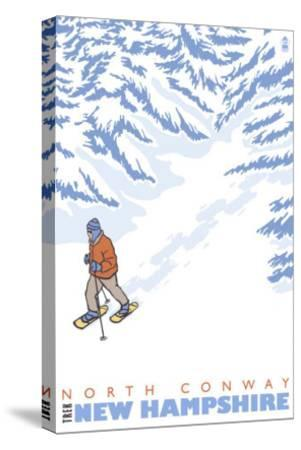 Stylized Snowshoer, North Conway, New Hampshire-Lantern Press-Stretched Canvas Print