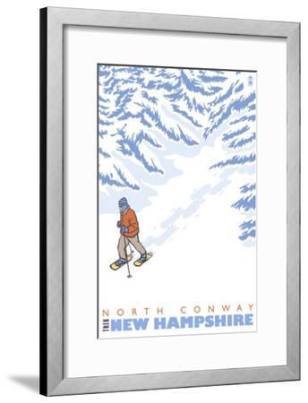Stylized Snowshoer, North Conway, New Hampshire-Lantern Press-Framed Art Print