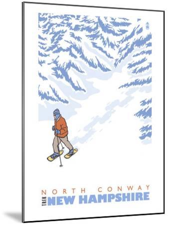 Stylized Snowshoer, North Conway, New Hampshire-Lantern Press-Mounted Art Print