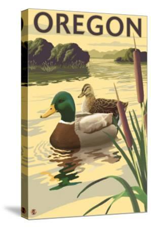 Oregon, Mallard Ducks-Lantern Press-Stretched Canvas Print