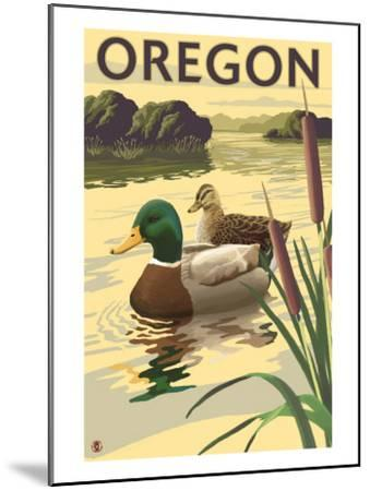 Oregon, Mallard Ducks-Lantern Press-Mounted Art Print