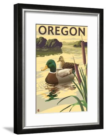 Oregon, Mallard Ducks-Lantern Press-Framed Art Print