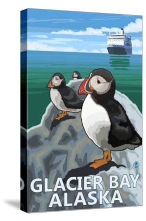 Glacier Bay, Alaska, Puffins-Lantern Press-Stretched Canvas Print