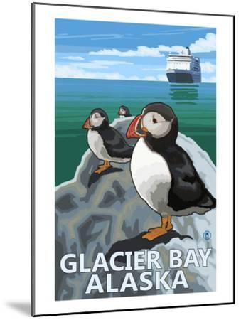 Glacier Bay, Alaska, Puffins-Lantern Press-Mounted Art Print
