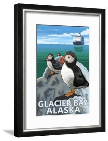 Glacier Bay, Alaska, Puffins-Lantern Press-Framed Art Print