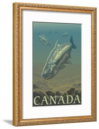 Canada, Salmon View-Lantern Press-Framed Art Print