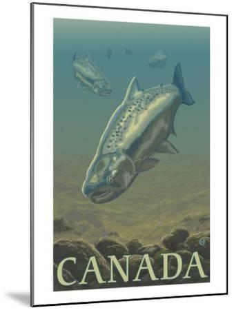 Canada, Salmon View-Lantern Press-Mounted Art Print