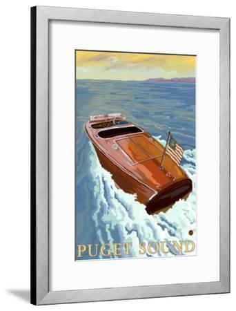 Puget Sound, Washington, Chris Craft Boat-Lantern Press-Framed Art Print