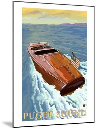 Puget Sound, Washington, Chris Craft Boat-Lantern Press-Mounted Art Print