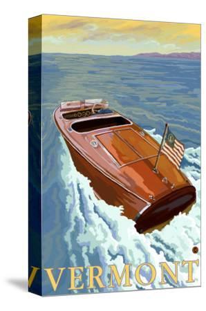 Vermont, Chris Craft Boat-Lantern Press-Stretched Canvas Print