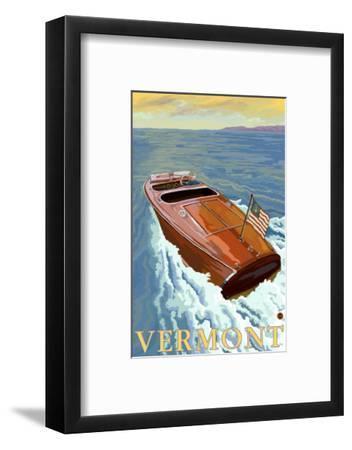 Vermont, Chris Craft Boat-Lantern Press-Framed Art Print