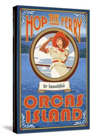 Orcas Island, Washington, Hop the Ferry-Lantern Press-Stretched Canvas Print