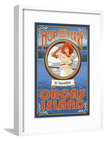 Orcas Island, Washington, Hop the Ferry-Lantern Press-Framed Art Print