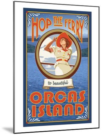 Orcas Island, Washington, Hop the Ferry-Lantern Press-Mounted Art Print