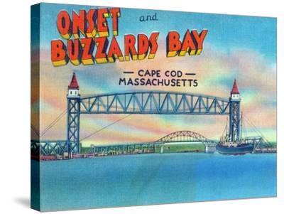 Cape Cod, Massachusetts, View of Bourne and Railroad Lift Bridges-Lantern Press-Stretched Canvas Print