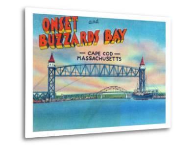 Cape Cod, Massachusetts, View of Bourne and Railroad Lift Bridges-Lantern Press-Metal Print