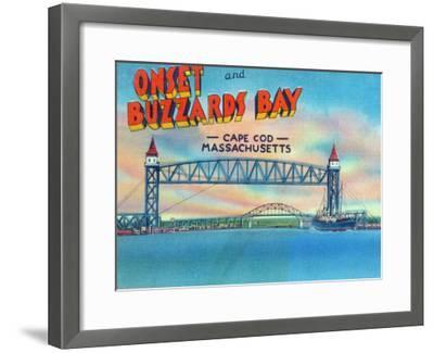 Cape Cod, Massachusetts, View of Bourne and Railroad Lift Bridges-Lantern Press-Framed Art Print