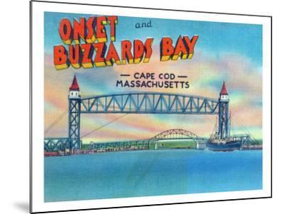 Cape Cod, Massachusetts, View of Bourne and Railroad Lift Bridges-Lantern Press-Mounted Art Print
