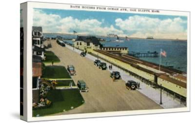 Oak Bluffs, Massachusetts, Ocean Avenue View of the Bath Houses-Lantern Press-Stretched Canvas Print